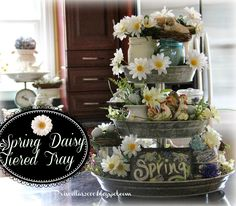 Priscillas: Daisies and Transferware Tiered Tray