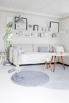 Wall design for the living room in white