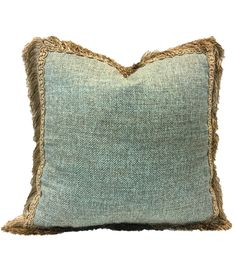 Decorative Square Pillow Blue with Fringe 19x19 | Reilly-Chance Collection