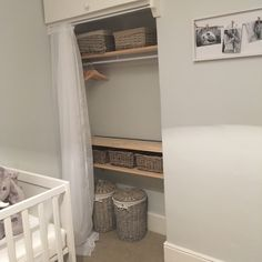 Our nursery 💛 built in wardrobe into the alcove with a double voile curtain – Wardrobe 2020 Built In Wardrobe Ideas Alcove, Diy Built In Wardrobes, Open Wardrobe, Diy Wardrobe, Bedroom Wardrobe, Diy Closet Doors, Make A Closet, Sliding Wardrobe Doors, Bedroom Alcove
