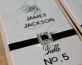 Set of 50 - Luxury Modern Chic Escort Place Cards with Satin Ribbon and Rhinestone Buckle for wedding reception dinner party
