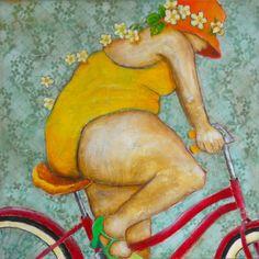lady in yellow swimsuit on the bike with sun door PietraPietDesigns