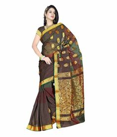 Vv Saree Brown Chettinaad Cotton Silk Saree. www.fashionpuram.com/womens-cotton-sarees/