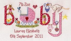 Baby Girl Birth Sampler Kit from Nia£18.95 - Past Impressions FREE UK DELIVERY