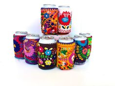 Embroidered Can Cosie, Mexican Dress Can Cooler, Insulated 12 oz Can cooler, Mexican Embroidery drink sleeve, Mexico Fiesta Wedding