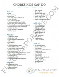 Printable list of chores kids can (and should) do, by age. #kids #chores #printable
