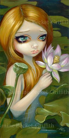 Mermaid Picking Lotus Blossoms flower lilypad fairy by Jasmine Becket-Griffith
