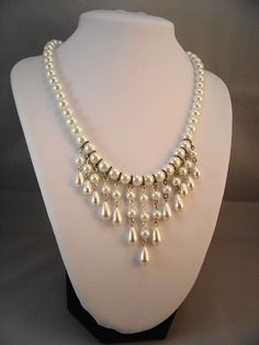 Elegant Pearl Cascade Necklace on Etsy, $59.00 #Beads #Necklace #Dangle #White #Pearl #Round #Teardrop