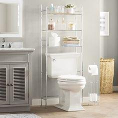 "Latitude Run Nordland 85.9"" H x 41.8"" W Over Bed Shelving Unit   Wayfair Bathroom Storage Over Toilet, Bathroom Wood Shelves, Wall Mounted Bathroom Cabinets, Small Space Bathroom, Small Bathrooms, Ikea Bathroom, Small Spaces, Above The Toilet Storage, Bathroom Grey"