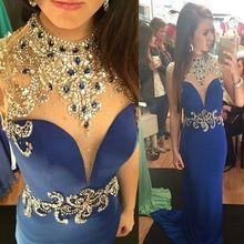 Vestido Longo Gold Beads Rhinestones Mermaid prom dress 2015 High Neck Royal Blue Formal Evening Dresses()