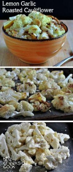 So fast and easy & SO very yummy! Lemon Garlic Roasted Cauliflower Recipe on The Creekside Cook | #roastedvegetables #cauliflower