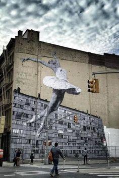 A 100-Foot Ballerina Is Taking Over New York City #streetart jd