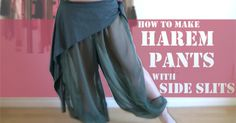 Here is a step-by-step tutorial on DIY harem pants with slits on side. These are so cute on their own, or layer them with overskirts, hip scarves or circle skirts. :)