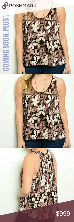 COMING SOON PLUS SIZE FLORAL TANK Get a head start on spring with this beautiful plus size floral tank!  Fabric: 97% polyester and 3% spandex  Relaxed fit Scoop neck   Inventory and measurements coming soon! Threadzwear Tops Tank Tops