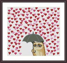 Grumpy Cat and Heart Funny Cross Stitch Pattern PDF Instant Download