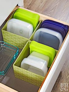 Plate racks can be really useful to organize lids! #kitcheninterior