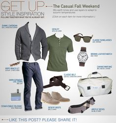 [henley, belt] The Get Up: The Casual Fall Weekend - Primer Look Fashion, Autumn Fashion, Mens Fashion, Fashion Clothes, Sharp Dressed Man, Well Dressed Men, Casual Fall, Men Casual, Casual Weekend