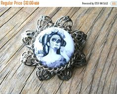 Christmas Sale Day of the Dead Brooch - Halloween Brooch - Day of the Dead Pin - Halloween Pin - Halloween Jewelry by BohemianGypsyCaravan