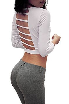 Women's Three Quarter Sleeve Running/Yoga Pierced Sexy So…