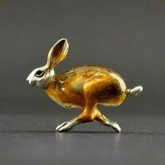 Silver and enamelled hopping Hare!
