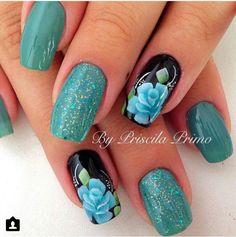Posh Nails, Chic Nails, Stylish Nails, Cute Nail Designs, Acrylic Nail Designs, Great Nails, Fun Nails, Pretty Nail Art, Flower Nails