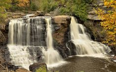 Download wallpapers mountain river, waterfall, stones, forest, autumn, water