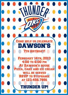 OKC Thunder Party Invitation  4x6 or 5x7  by KWPCreations on Etsy, $5.00