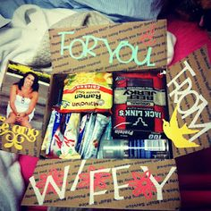 14 care packages that I made for my husband while he was deployed to Afghanistan. (cute idea for any time away...business trip, guys camping, working away from home, retreats, ect)