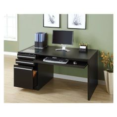 Monarch Specialties Hollow-Core Connect-It Computer Desk, Cappuccino I 7014 by Monarch Specialties. $428.98. Flip to open wire management for easy access to hidden wires and power supply system. Connect IT storage drawer is the ideal place to store, charge, connect and interface most handheld. Built in surge protected outlet bar with phone and network outlets. Pull out keyboard tray. Storage drawer and file drawer for organization. Imagine if your furniture could effo...