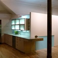 the use of colored light is lovely and easy on the eyes - Posen Loft by Yoshihara McKee Architects