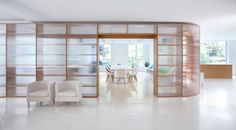Office renovation featuring polycarbonate and wood partitions in HangZhou by Daipu Architects Hangzhou, Corporate Interiors, Office Interiors, Wood Partition, Office Fit Out, Pharmacy Design, Interior Architecture, Interior Design, Light In
