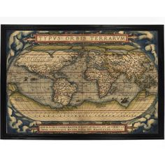 Decorative Map of The World by Abraham Ortelius