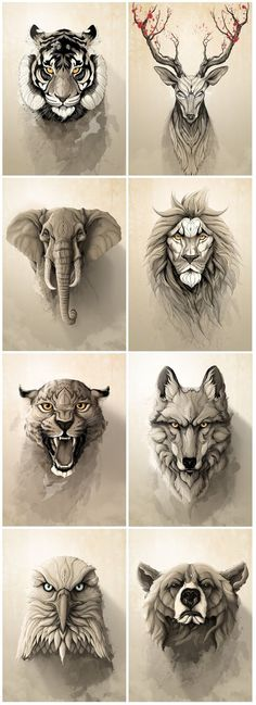"""Wild Animals"" metal posters collection by Rafapasta CG adorables funny graciosos hermosos salvajes tatuajes animales Afrika Tattoos, Animal Drawings, Art Drawings, Drawing Animals, Pencil Drawings, Drawing Sketches, Pencil Art, Petit Tattoo, Elephant Tattoos"