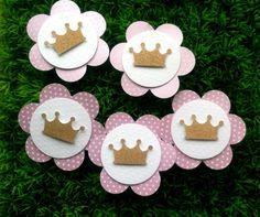 Tag Flor e Coroa - Kit c/ 15 unidades