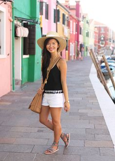 Vacation Style // Black Cami with Tassels & Straw Hat