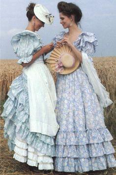 British designer 80s Laura Ashley outfits dresses vintage style 1900s...photo print ad magazine catalogue blue florals white