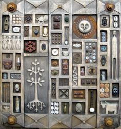 Love the tiny carved boxes and collections of found objects  Art by Robyn Gordon
