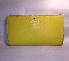 pre-loved authentic KATE SPADE yellow SAFFIANO LEATHER bi-fold CLUTCH WALLET #katespade #Clutch