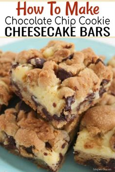 You MUST make these delicious and easy chocolate chip cookie cheesecake bars. I promise that everyone in your family will love these simple chocolate chip cookie cheesecake bars! Try making this delicious dessert recipe for your family today! Chocolate Chip Cookie Cheesecake, Make Chocolate Chip Cookies, Cheesecake Cookies, Cheesecake Recipes, Cookie Recipes, Chocolate Chip Cookie Bars, Cheesecake Bites, Chocolate Chip Recipes Easy, Brownie Pudding