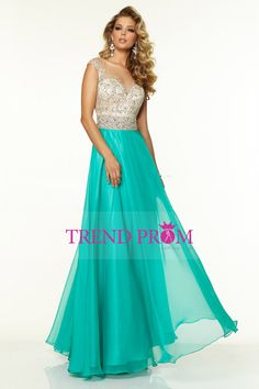 2015 Bateau Beaded Tulle Bodice A Line Prom Dress With Long Chiffon Skirt