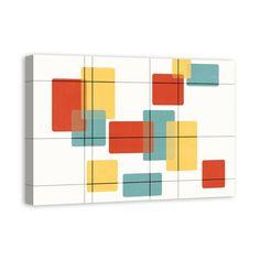 'Mid Century Modern Rectangles' Graphic Art Print on Wrapped Canvas Modern Artwork, Modern Wall Art, Mid-century Modern, Modern Ranch, Modern Bohemian, Modern Sofa, Modern Chairs, Mid Century Modern Decor, Mid Century Design