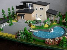 dollhouse miniature swimming pools | How cute is this house on etsy by EmmyNHiros ? Too bad it's so small ...
