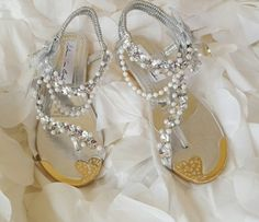 Special Order Only / Beautiful Bejeweled Rhinestone Pearl Bridal Beach Wedding Thong Sandal Wedge Heels Party Costume Cruise Club
