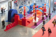 Colorful display with great use of shapes | Moomin Fair Stand by aleksi hautamäki
