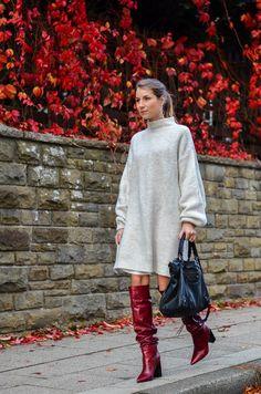 Cozy autumn outfit :: Zara knit dress + red boots + Balenciaga bag
