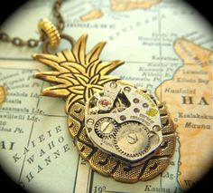 Necklace Steampunk Jewelry Rustic Brass Pineapple Gothic Victorian Antique Vintage Watch Movement Tropical Tiki Steam Punk