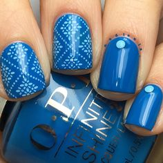 """227 Me gusta, 6 comentarios - Nadia (@nadioula_) en Instagram: """"@opi_products Infinite Shine Wild Blue Yonder stamped using Über Chic Beauty 14-03 in Born Pretty…"""""""