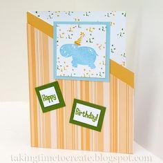 Hippo Birthday Card. A handmade card for a little boy.