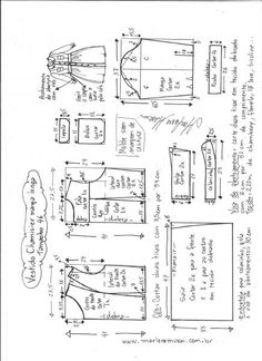Esquema de modelagem de vestido chamesier manga longa tamanho 46.