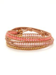 Chan Luu  Coral & Quartz wrap bracelets